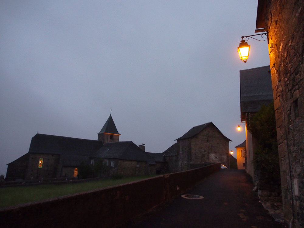 Street Lamps and Church at Dusk