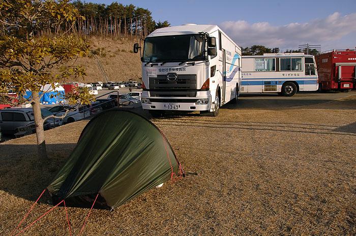view of my akto tent at Minami Sanrikucho Bayside Arena evacuation center