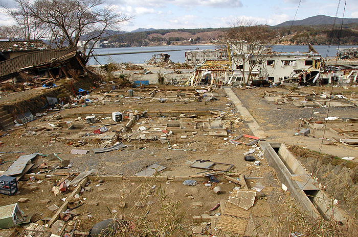 home foundations devastated by tsunami