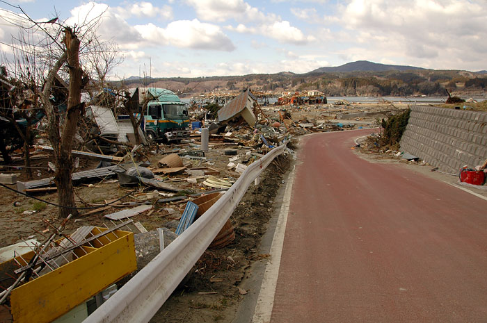 road from evacuation center into devastated Minami Sanrikucho town
