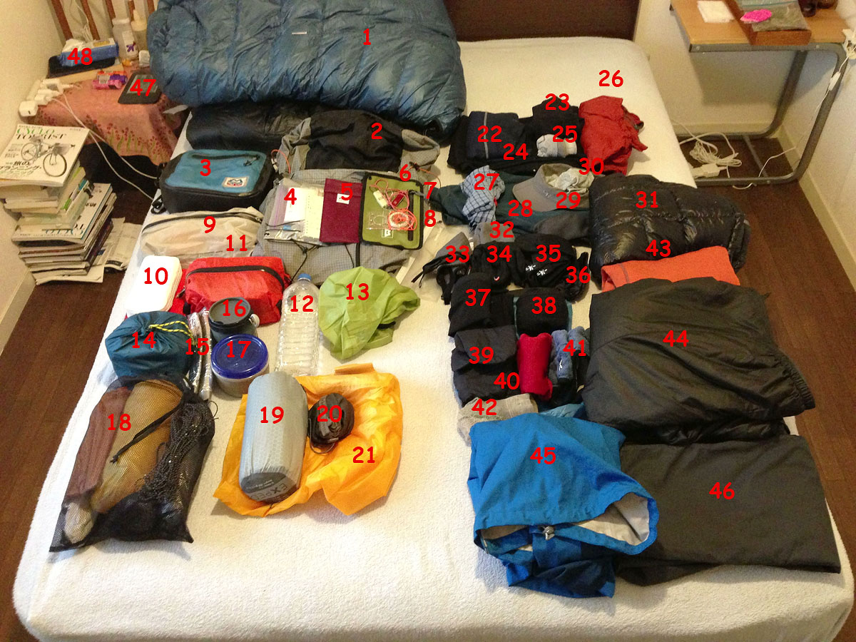 Visual Gear List of Everything in a Mid-Spring (cold and rainy, possibility of snow) Pack