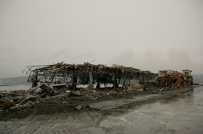 tsunami wreckage of the Minami Sanrikucho harbor fish market