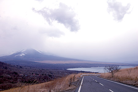 Mt. Fuji and Yamanaka-ko from road