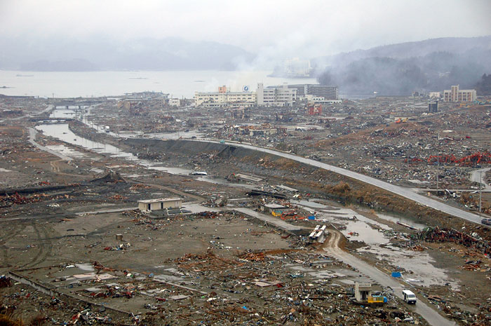 view of the whole of devastated Minami Sanrikucho town