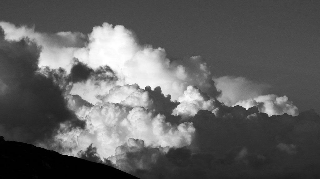 Kiso Komagatake Wild Clouds BW