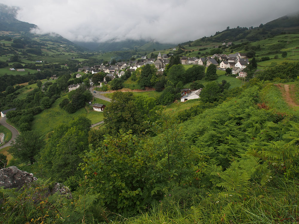Village of Lescun overlooking the road climbing up from the Aspe Valley.