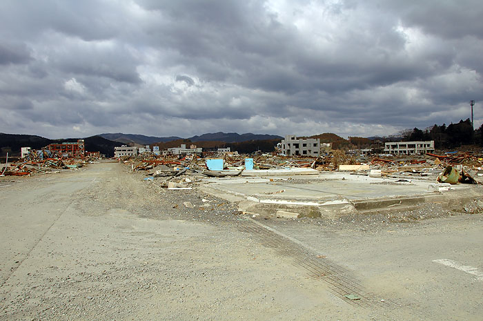 devastation of Minami Sanriku seen from edge of town