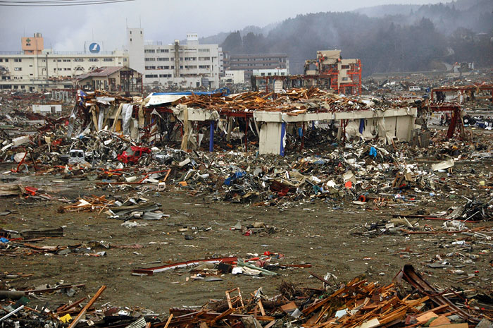 view of devastated shopping center in Minami Sanrikucho